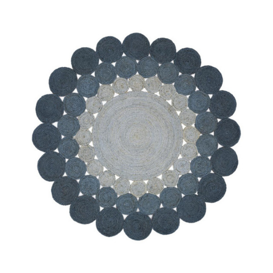 Scalloped ombre, jute area rug in shades of blue and gray from the Magnolia Home Collection.