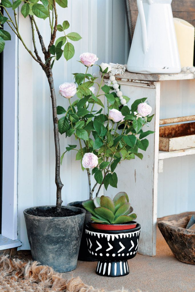 faux plants from Balsam Hill on a porch