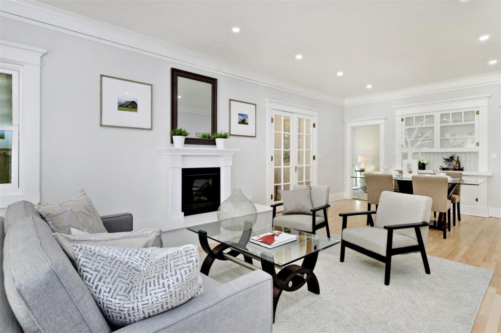 updated cottage living room all white