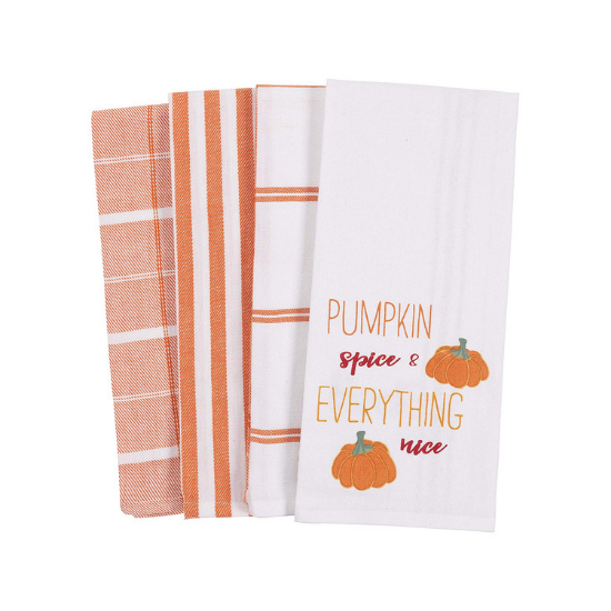 Set of four white and orange, fall themed, dish towels.