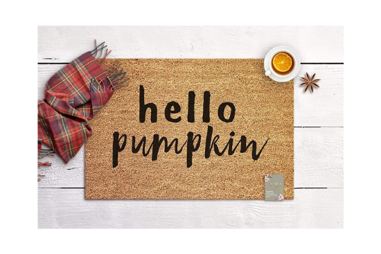 "Jute welcome mat with ""hello pumpkin"" in black type."