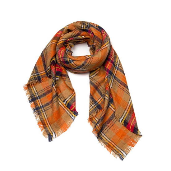 Fall themed plaid scarf with a fringed-edge.