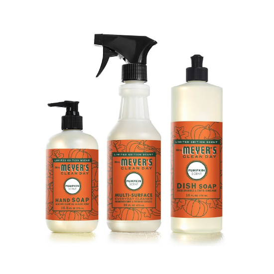 Three piece set of cleaning supplies in pumpkin scent, dish soap, hand soap and cleaning spray.
