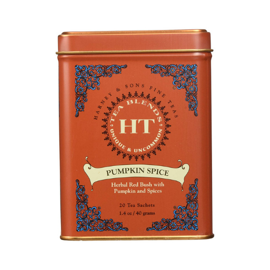 Rust colored decorative tin filled with pumpkin spice tea sachets.