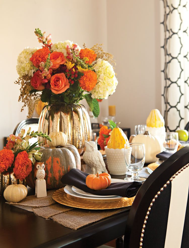 Festive Halloween tablescape prepared for dinner guests.