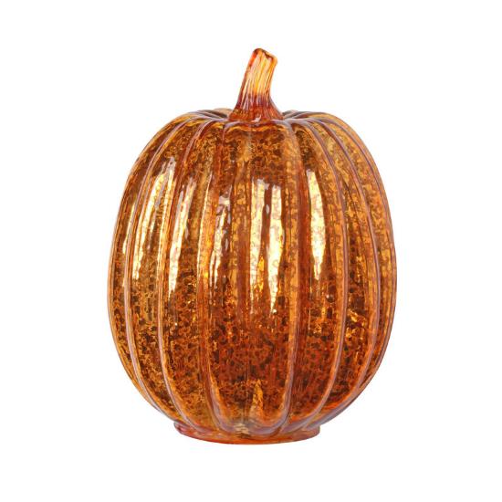 Rust colored mercury glass, pumpkin shaped decorative art, that lights up.