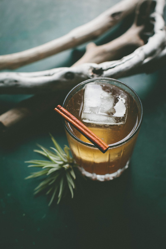A lovely fall cocktail on a hunter green table with a cinnamon stick garnish and an air-plant displayed next to the glass.