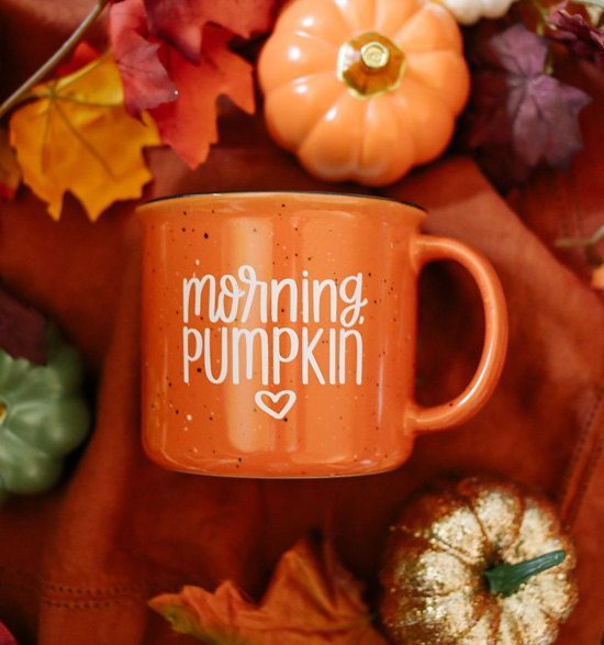 Speckled, orange ceramic mug with 'morning, pumpkin' written on it in white and surrounded by Halloween decor pumpkins and fall leaves.