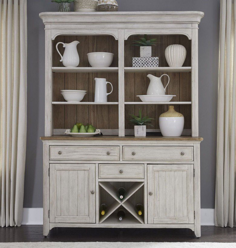 Gray toned china cabinet with minimalistic display.