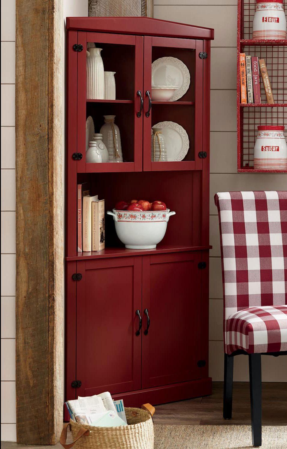 Red corner china cabinet.