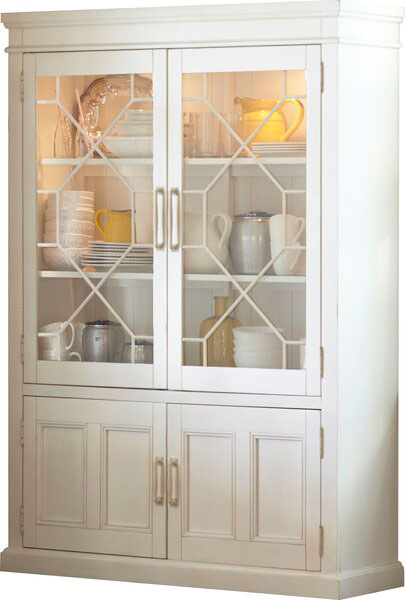White china cabinet with display lights to show white dishes.