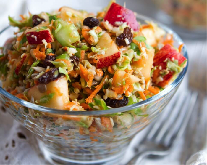 Fall Detox Salad with maple syrup, apples, celery and carrots