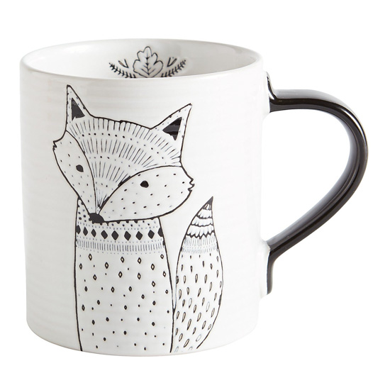 White stoneware mug with black handle and a modern designed hand-drawn fox with small detail inside the mug.