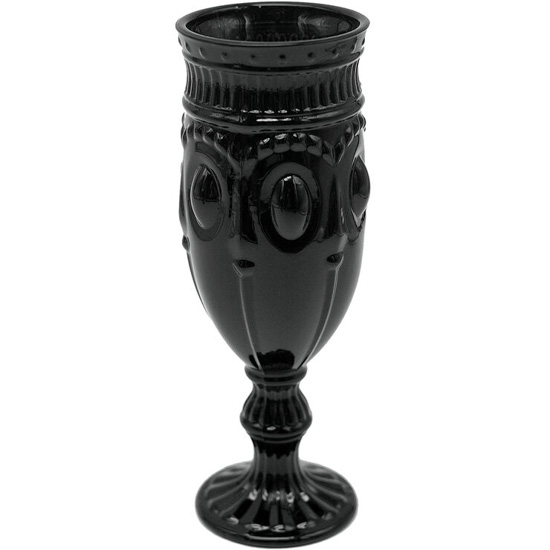 Black gothic styled glass champagne flute.