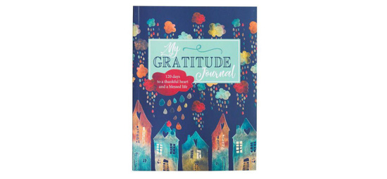 "Watercolor houses painted on a navy blue cover entitled, ""My Gratitude Journal."""
