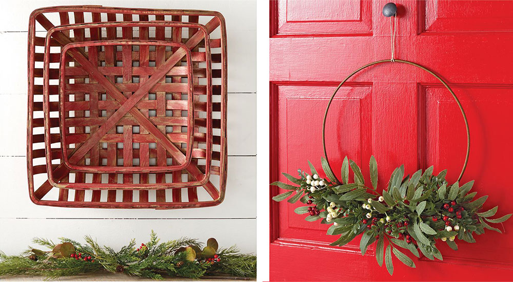 red tobacco basket and a wire wreath on a red door