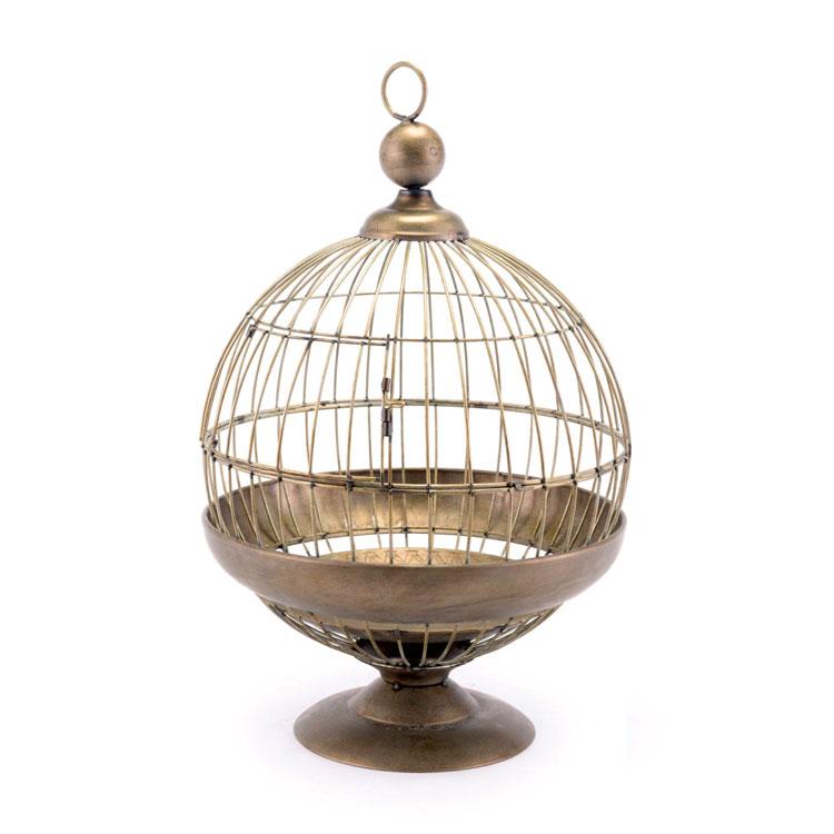 Vintage-style Round Birdcage candle holder