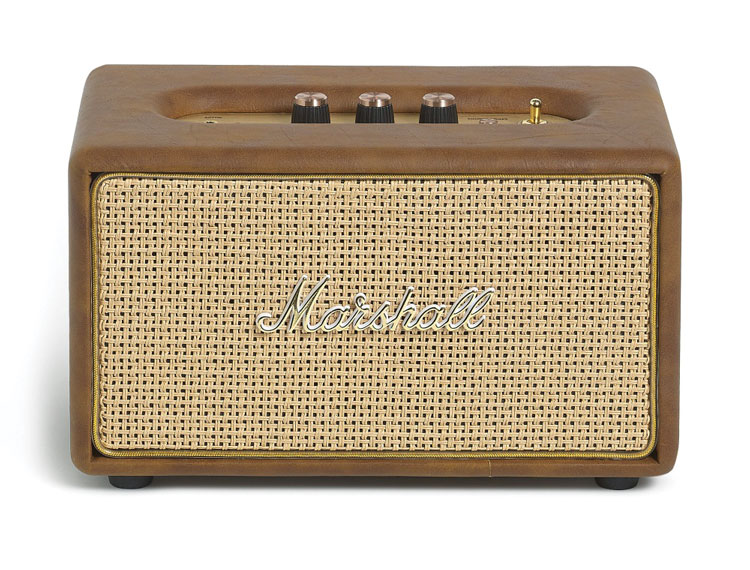 Marshall travel speaker in a soft camel vinyl case with a basketweave fret, bluetooth compatible.