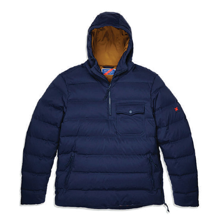 Navy blue men's down pullover jacket with front zip and zipper pockets.
