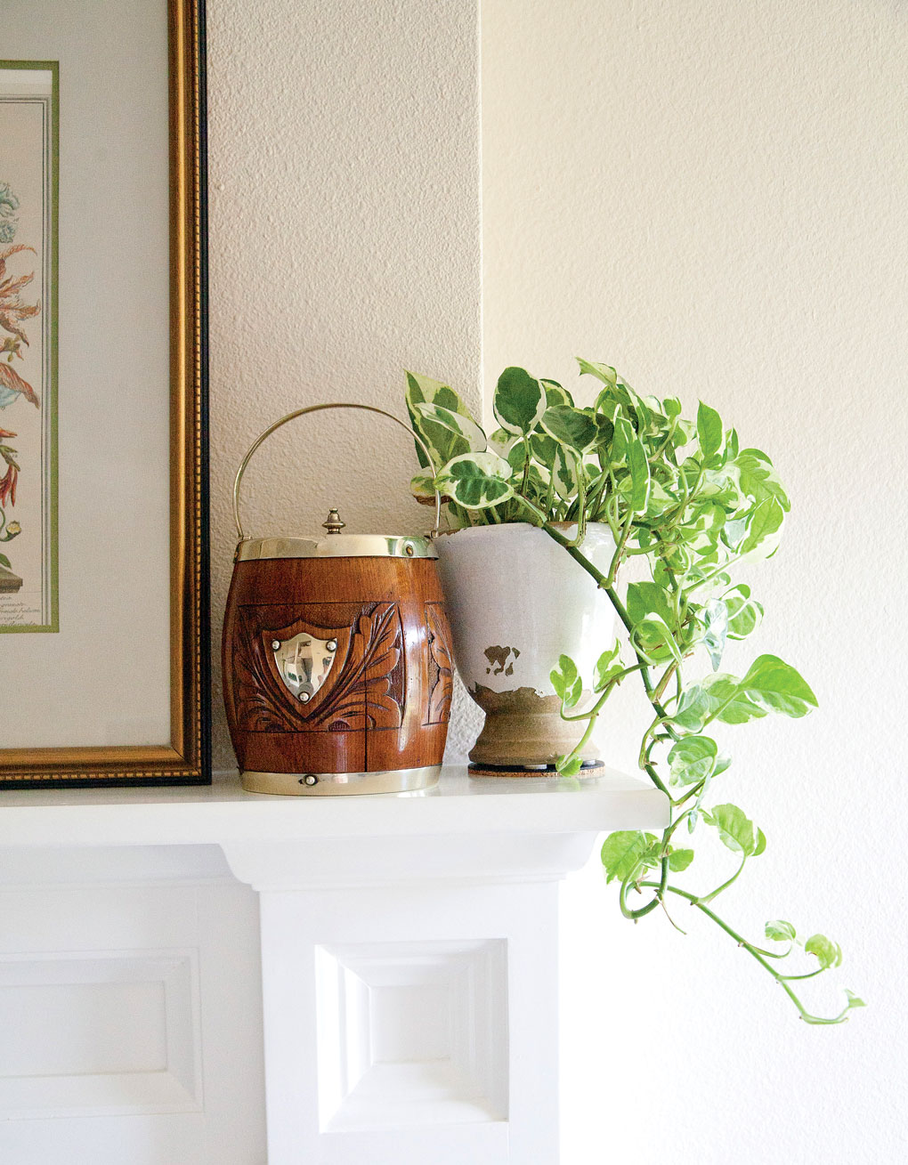 Wooden biscuit barrel perched on a mantel next to a potted indoor plant.