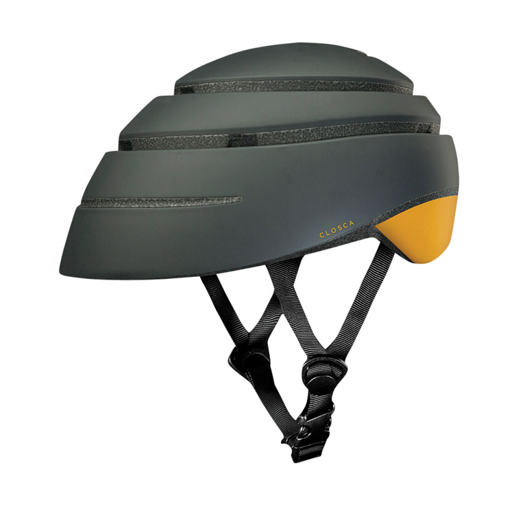 Gray collapsable cycling helmet with yellow detail and black nylon strap.