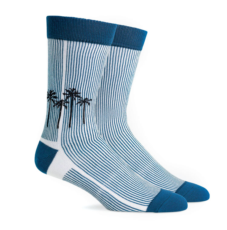 Blue and white men's socks with vertical stripes and small black palm trees.