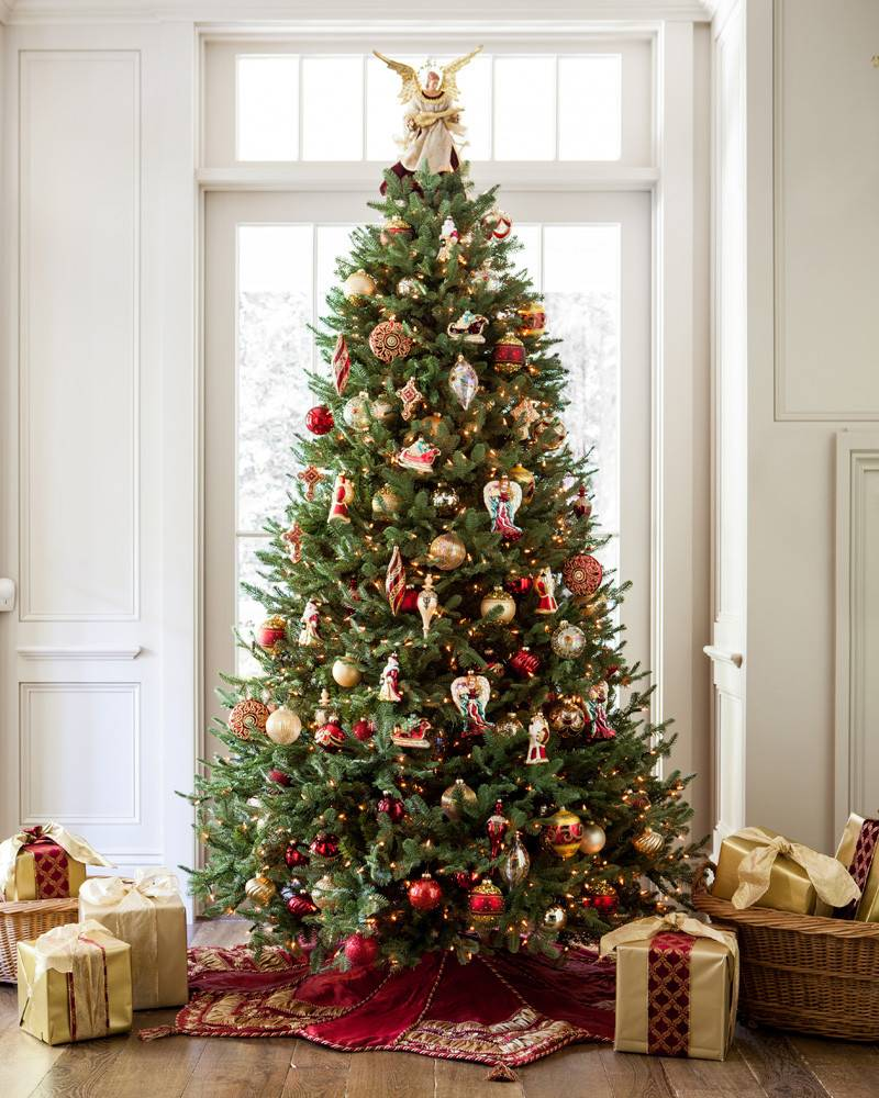 This balsam fir style tree by Balsam Hill is a grand centerpiece for the holiday living room.