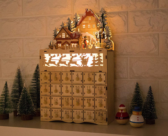 LED lit wooden advent calendar with backlit sleigh.