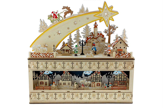 Ornate wooden advent calendar with Santa's sleigh riding a shooting star out of the top.