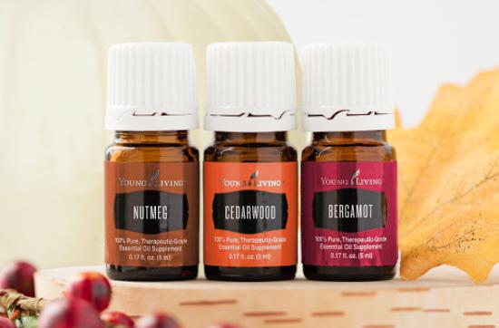 Set of three fall themed essential oils.