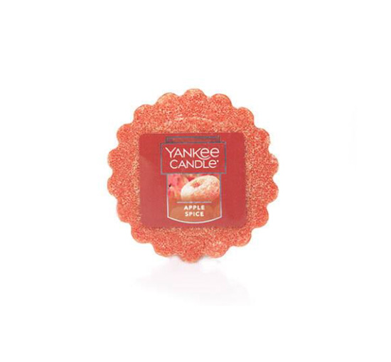 Apple spice scented round wax melt from yankee candle.