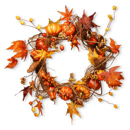 Fall harvest wreath with bright shades of red and orange leaves and gourds placed on a wreath.