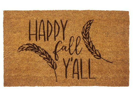 """Thanksgiving porch jute doormat with pictures of wheat whisps that says """"happy fall y'all""""."""