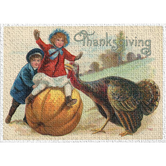 "Indoor area rug that says ""thanksgiving"" and features a vintage vignette of children playing on a pumpkin near a turkey."