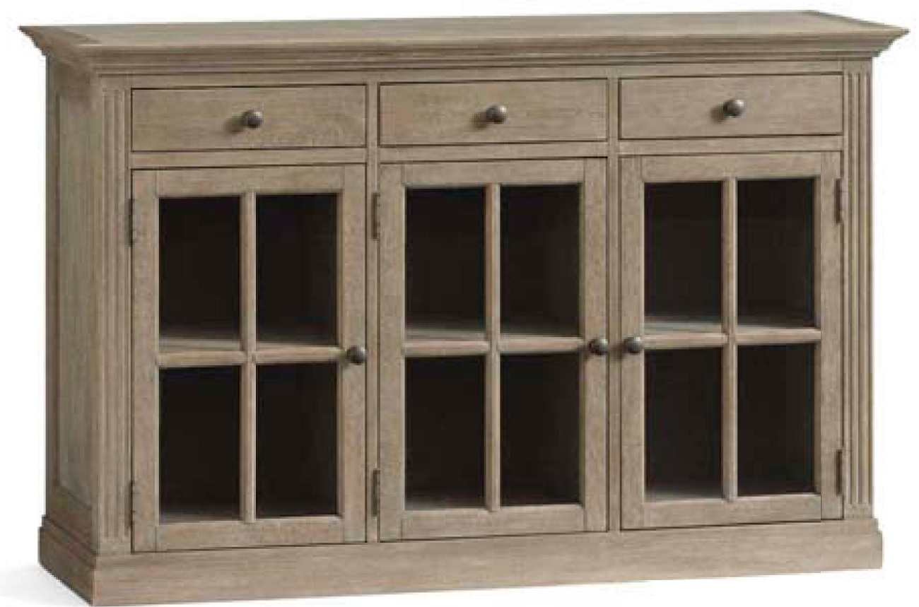 Wooden Pottery barn sideboard in gray wash tone.