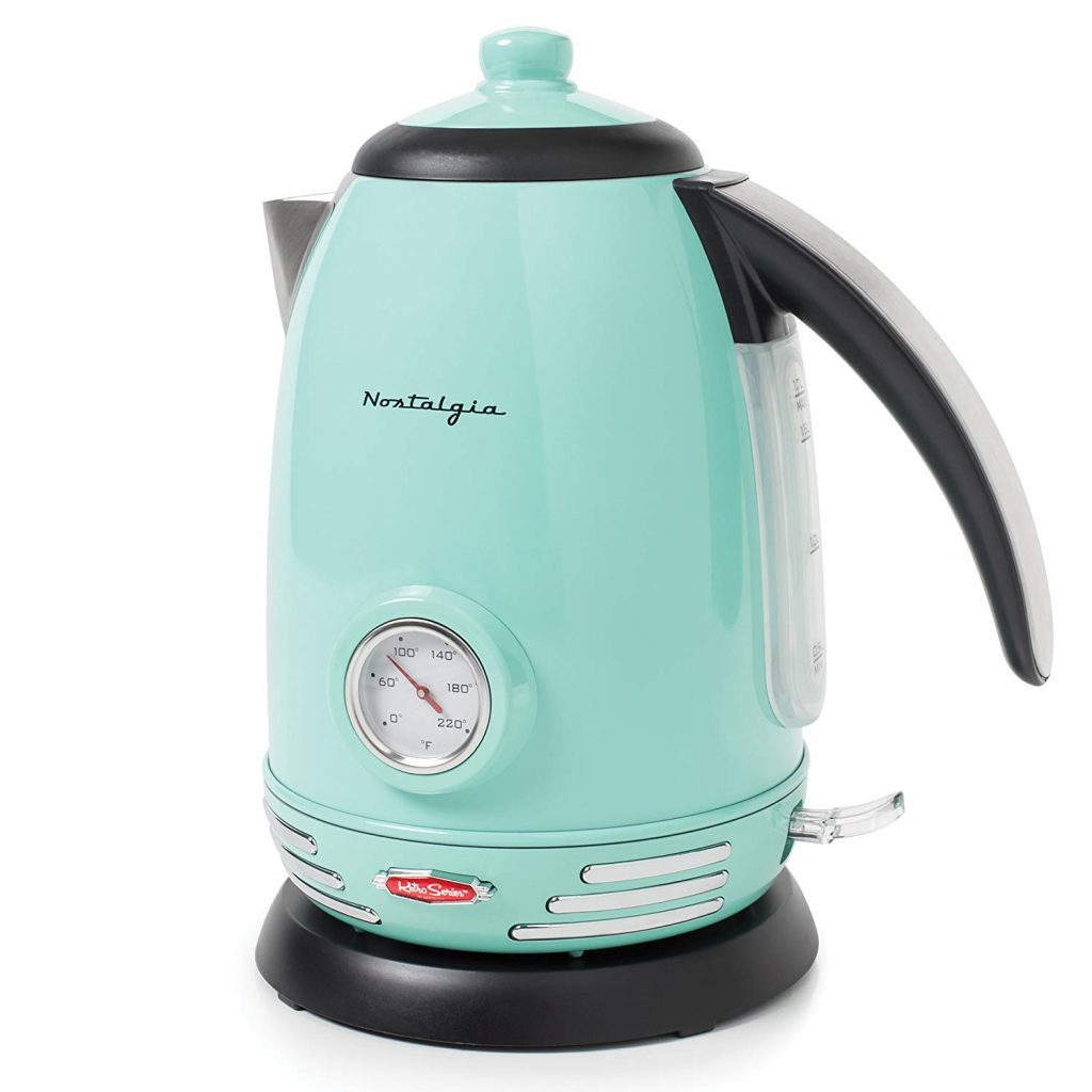 Blue retro electric kettle.