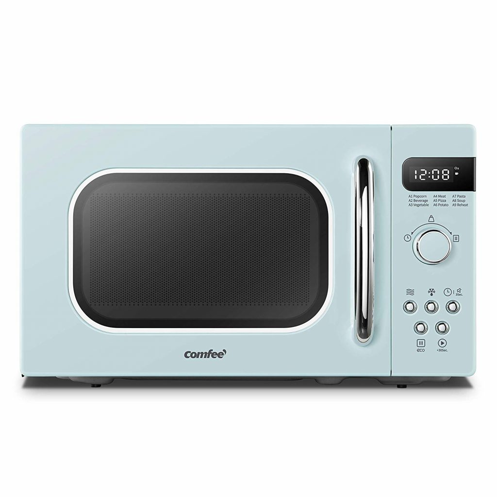 Retro styled microwave in light blue