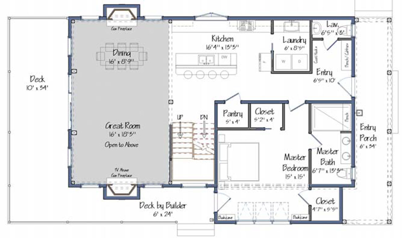 Blueprint floor plan for the ground level of a home build.