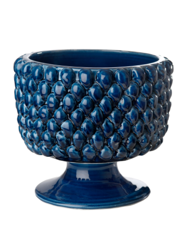 Blue pedestal pinecone planter with a glossy finish.