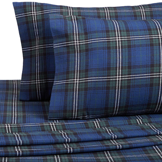 Flannel sheets in Blackwatch Plaid.