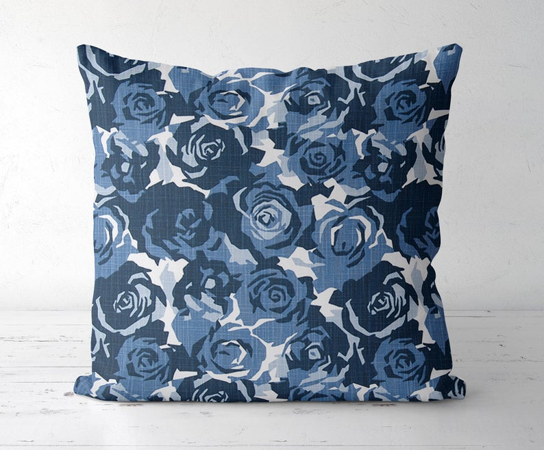 Floral blue pillow cover