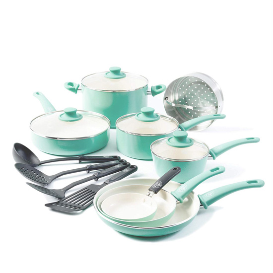 16 piece set of pots and pans in a minty blue color from Amazon Prime.