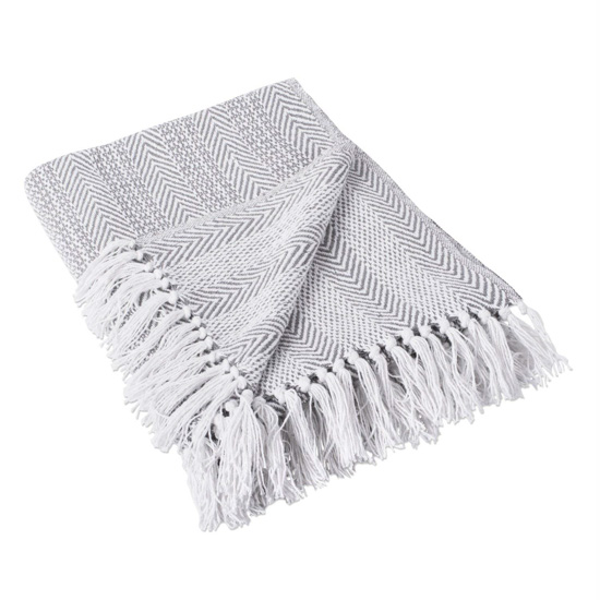 Gray and white herringbone throw blanket with fringed edge from Amazon.