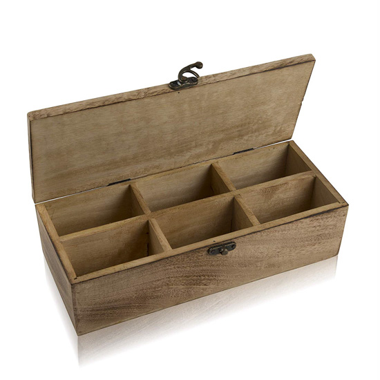 Wooden crafted tea bag storage box with 6 compartments and metal clasp.