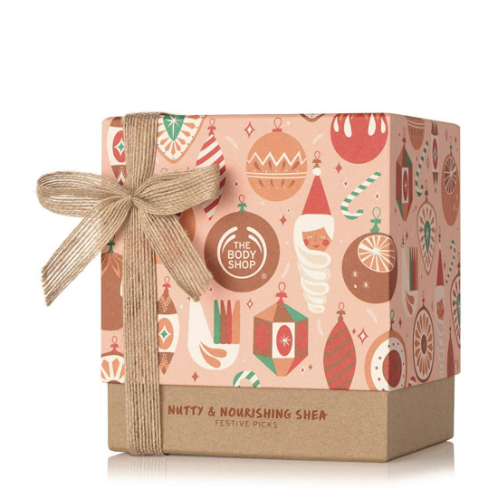 Amazon gifts from the Body Shop with a Kraft paper colored bottom and ribbon.
