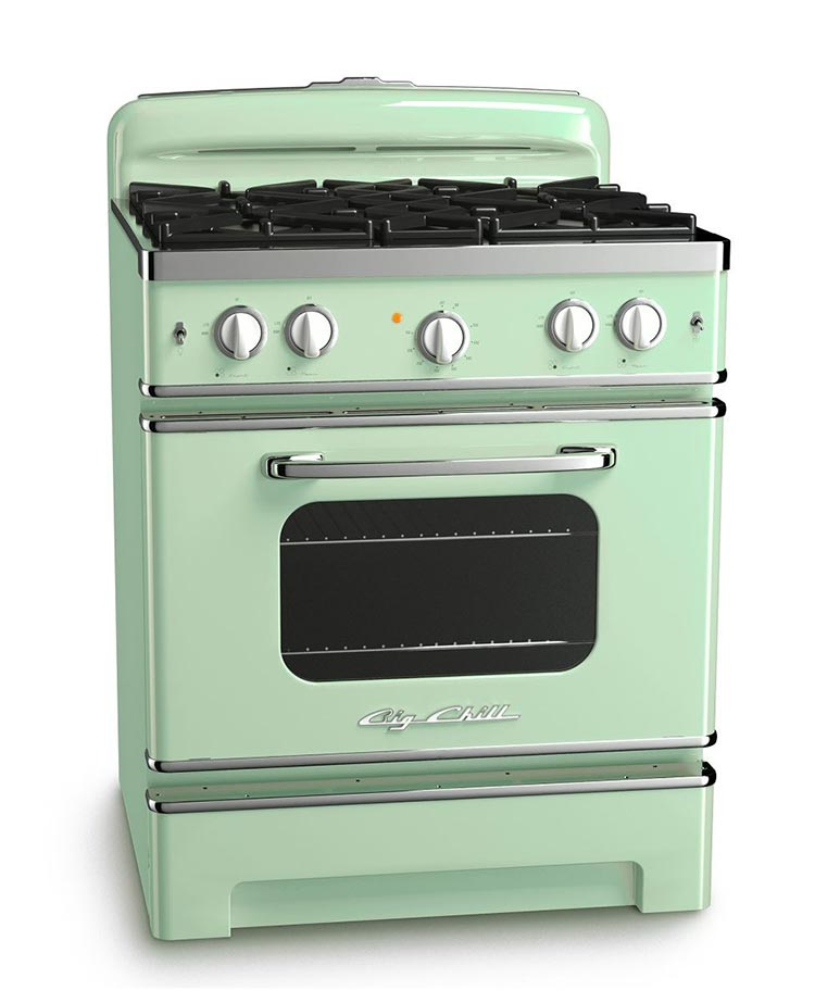 Big Chill retro stove in jadeite green.