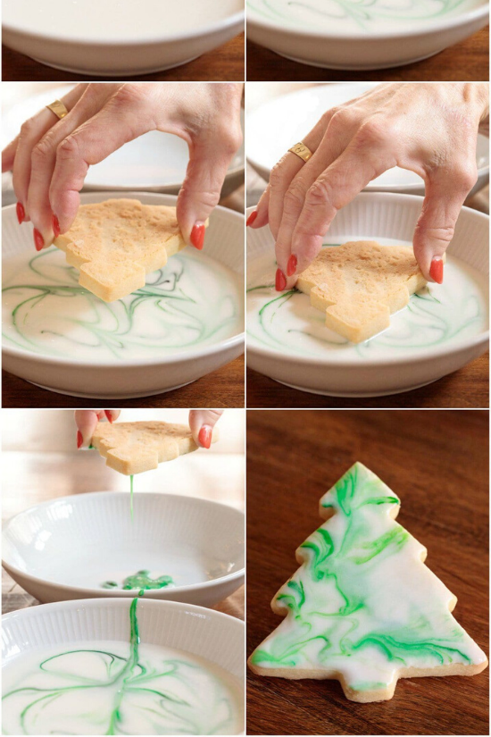 DIY tutorial images for decorating the top of a shortbread cookie in the shape of a Christmas tree.