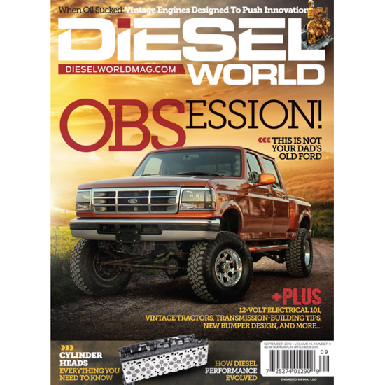 The perfect guy gift a Diesel World magazine cover with a large red Ford truck on the cover, ready for subscription.