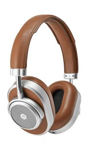 Brown leather and silver high end, noise-counseling headphones.