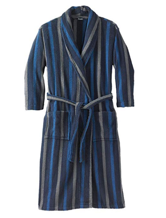 Striped long bathrobe with blue and gray vertical stripes.